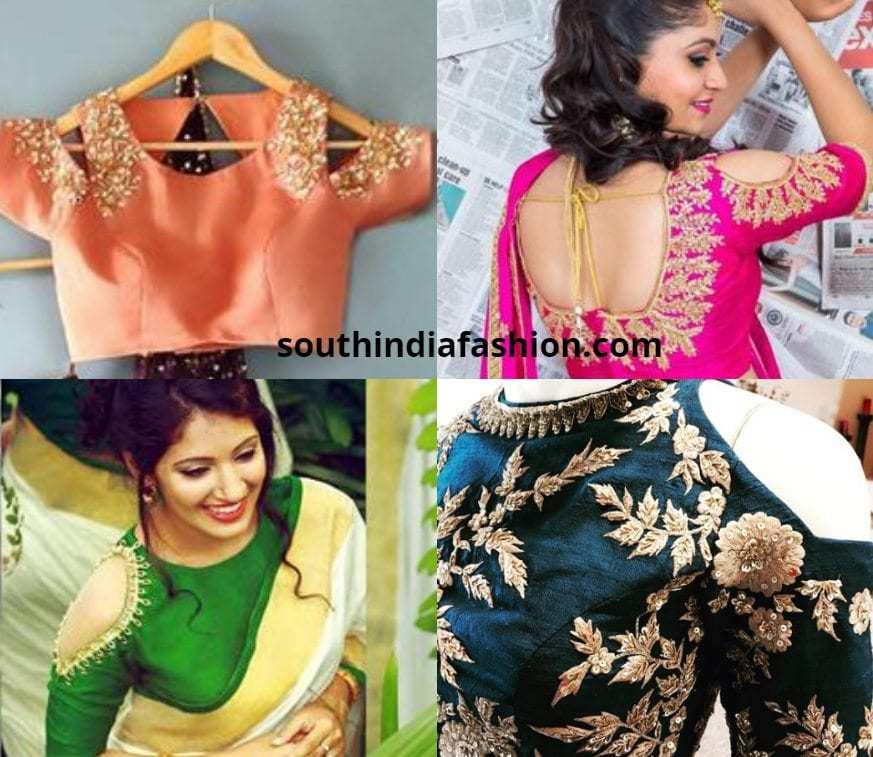 cold shoulder blouses for kanjeevaram sarees