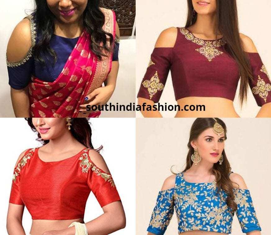 cold shoulder blouses for pattu saree
