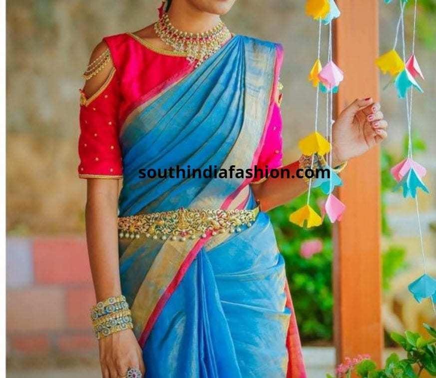 cold shoulder blouses for bridal pattu saree