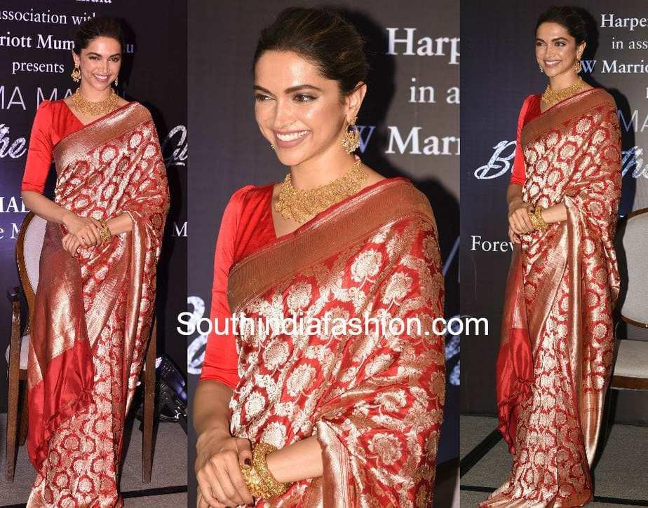 Deepika Padukone at Hema Malini's Book Launch in red raw mango saree