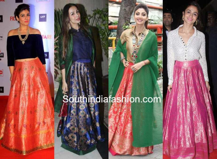 different ways to wear banarasi ethnic skirts