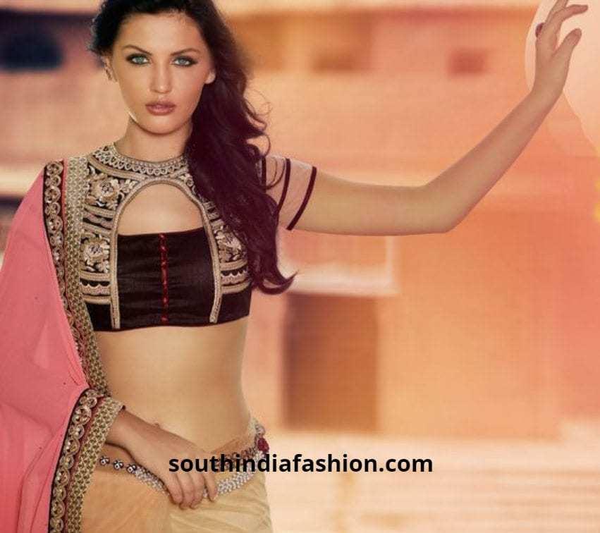 fusion saree fancy blouse