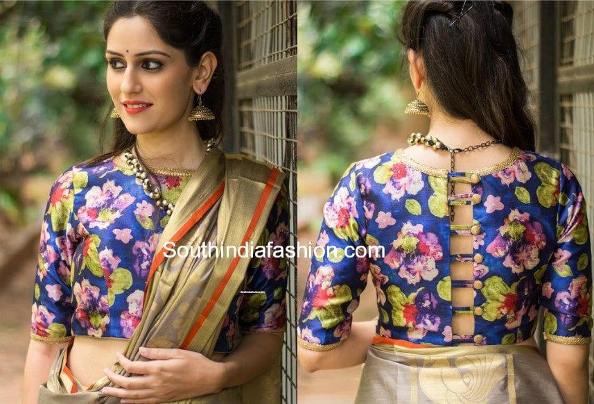plain saree with floral blouse