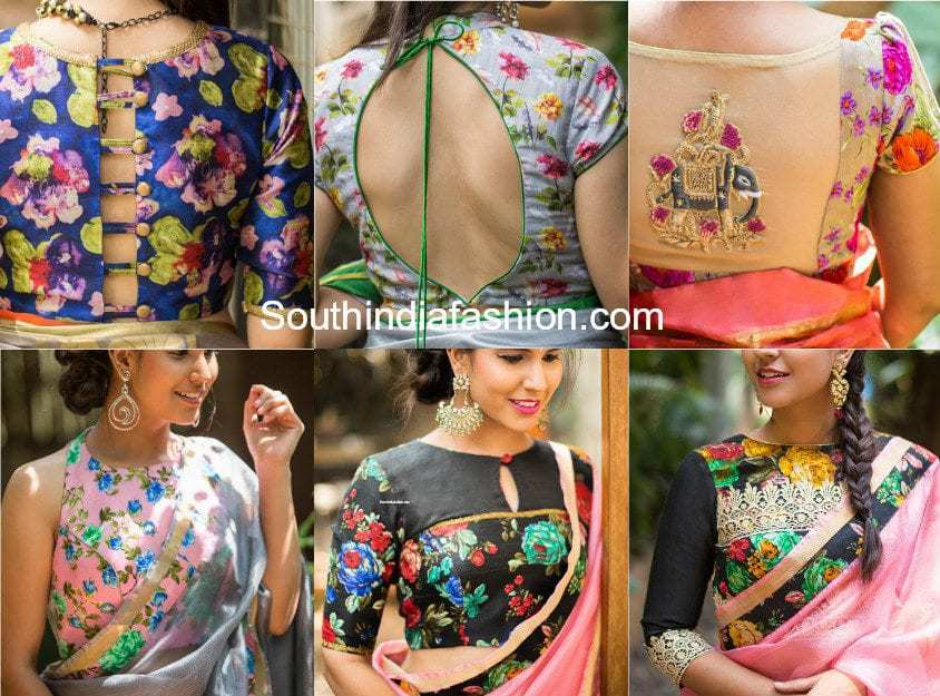 floral print saree blouse designs
