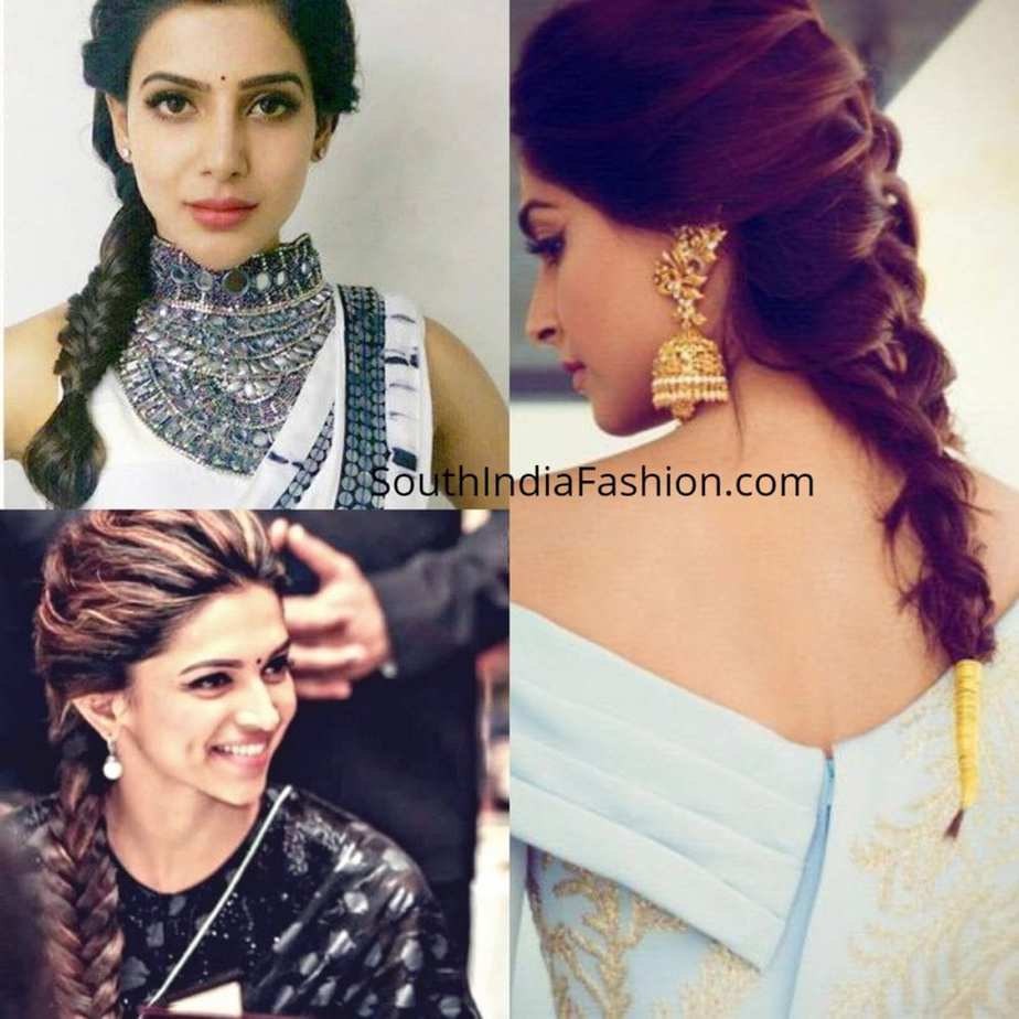 fishtail-braid-with-saree