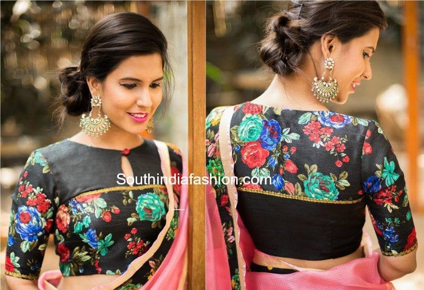 floral print saree blouse designs