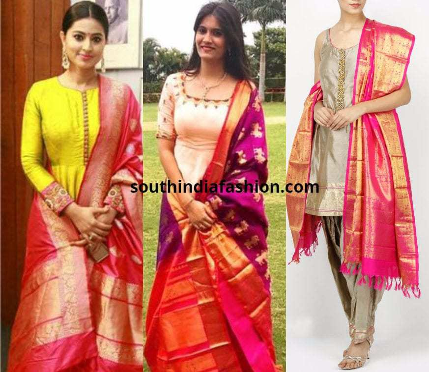 Kanjeevaram Dupattas for Anarkalis