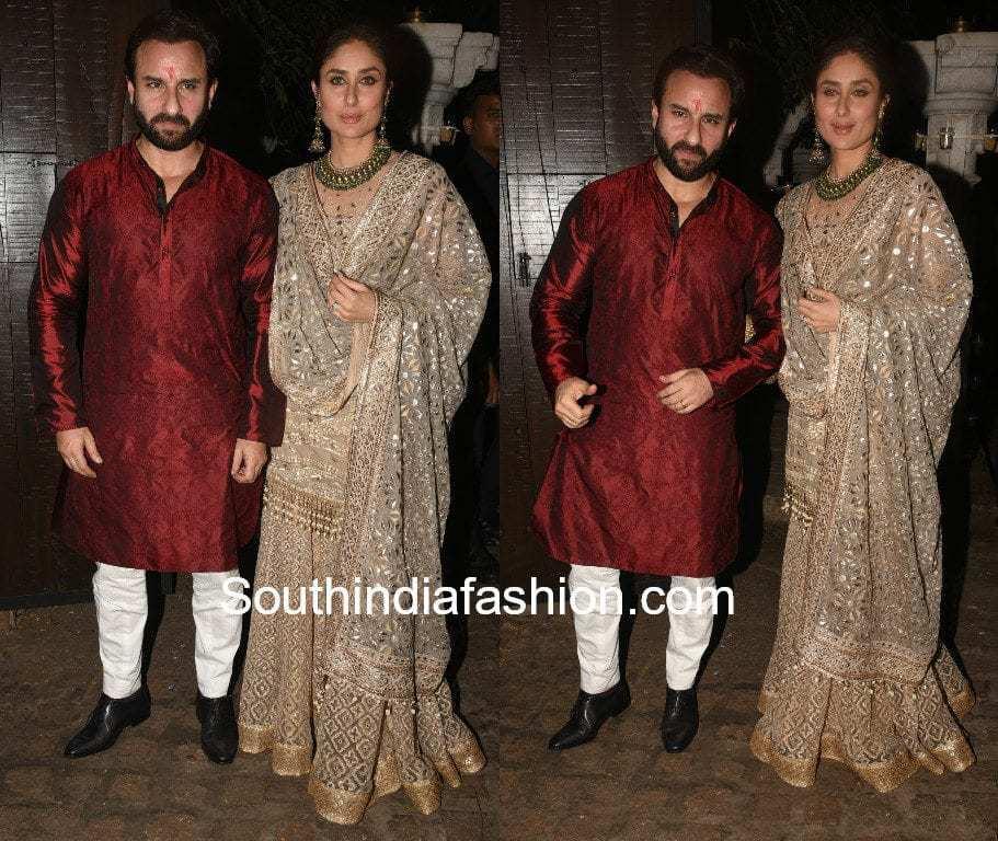 saif ali khan and kareena kapoor at anil kapoor and aamir khan diwali party