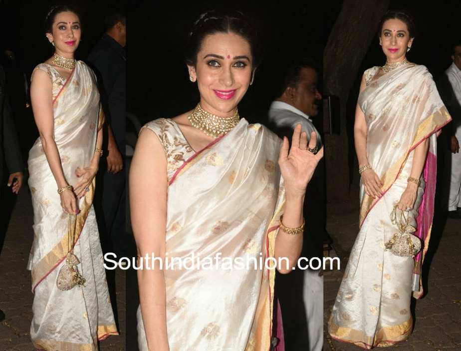 karisma kapoor in mint n oranges white chanderi saree at anil kapoor diwali party 2017