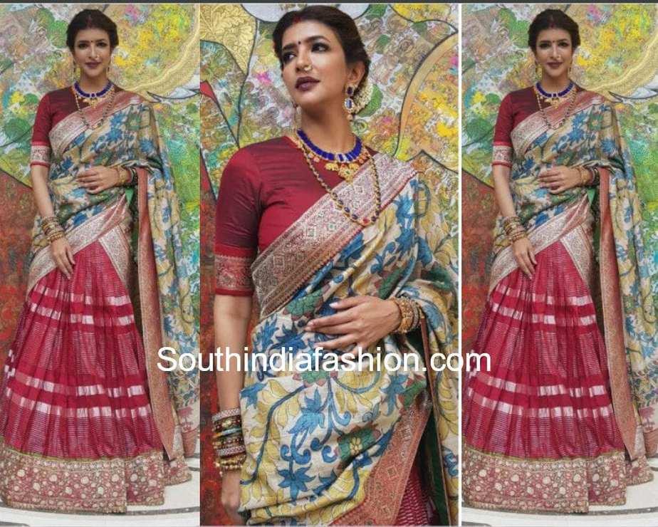 lakshmi manchu in bhargavi kunam half saree for viranica manchu baby shower