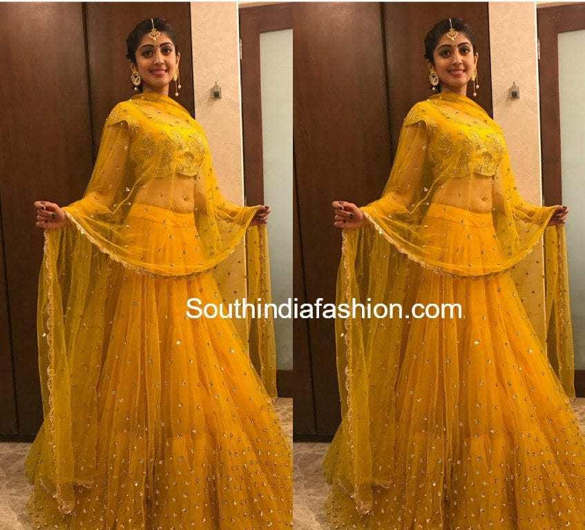 pranitha subhash yellow lehenga dussera celebrations mysore