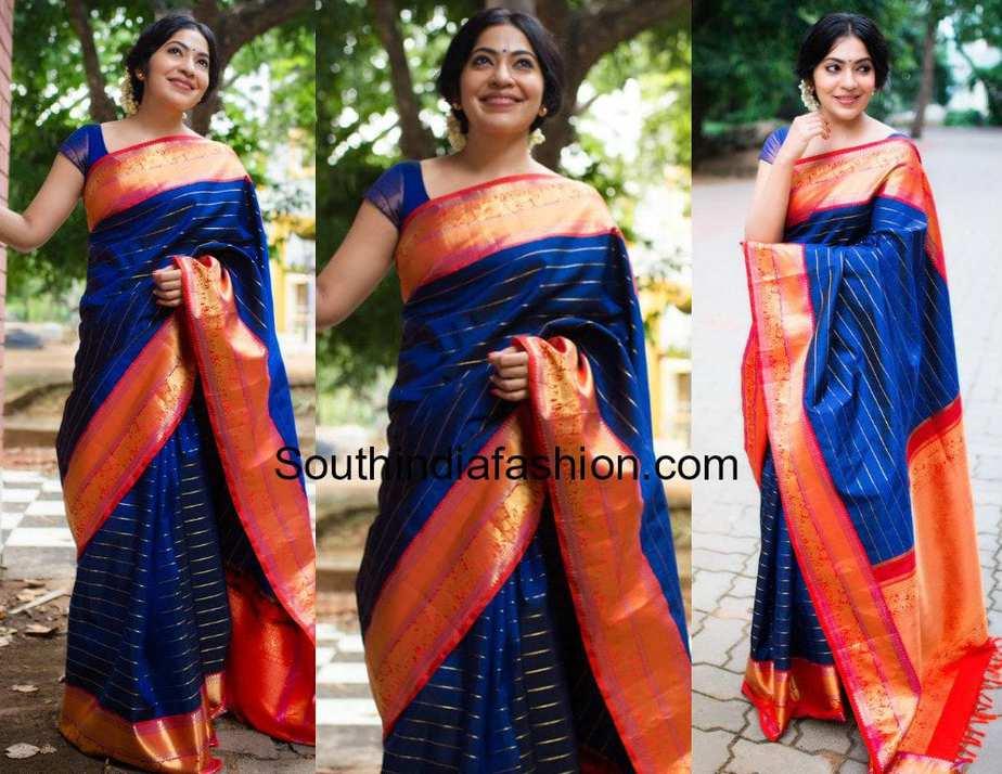 ramya subramanian blue kanjeevaram saree tulsi silks