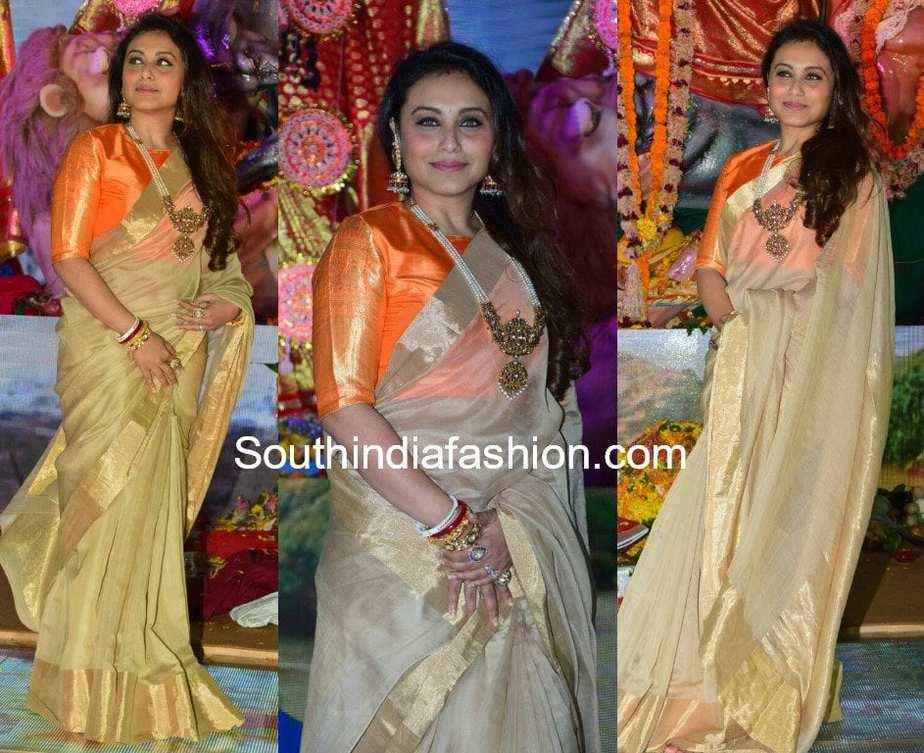 rani mukherjee cream saree orange blouse