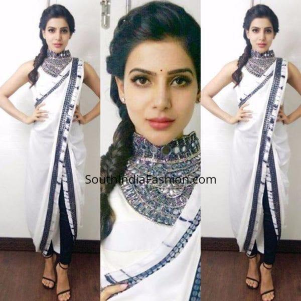 Samantha-in-a-dhoti-saree