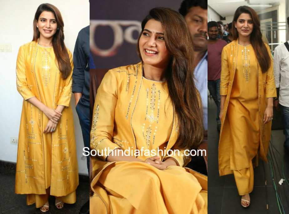 samantha akkineni yellow dress raju gari gadhi 2 promotions