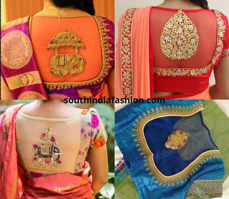 Sheer Back Blouses For Bridal Pattu Sarees