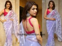 shraddha das lavender saree pink blouse at garudavega press meet