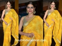 shraddha das yellow saree at garudavega trailer launch