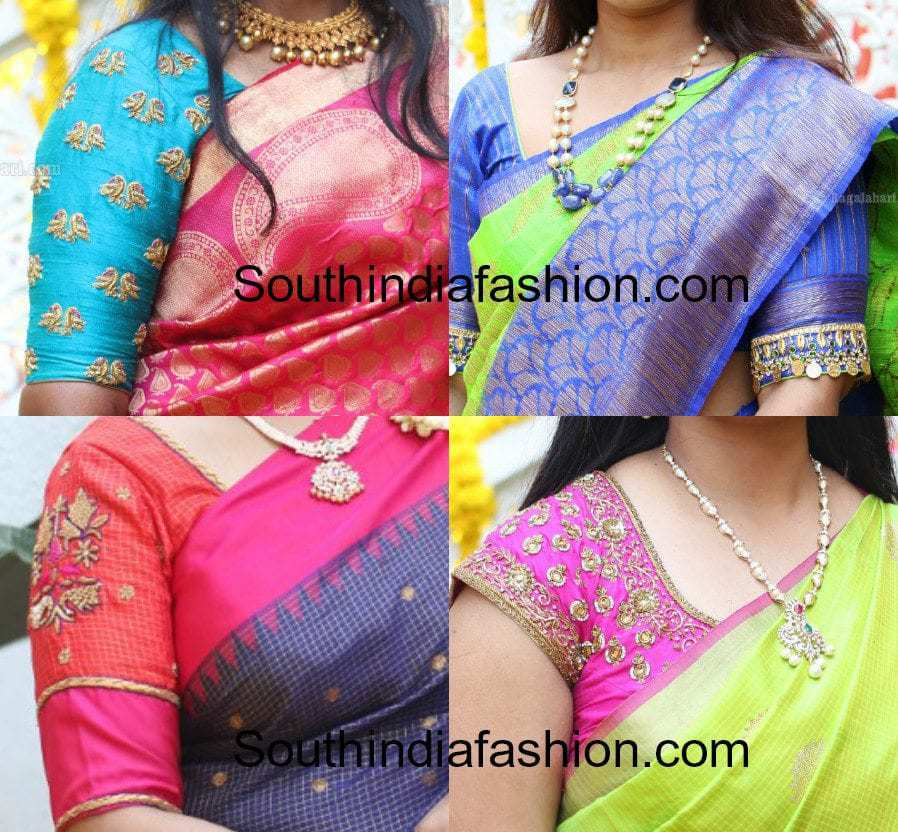 simple work pattu saree blouse designs