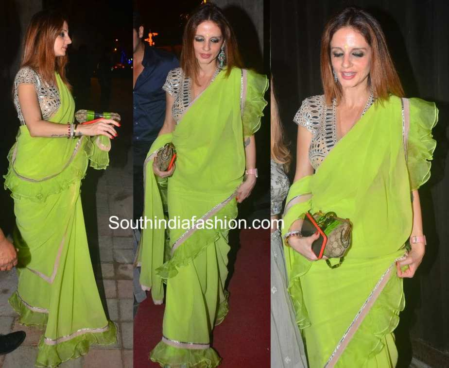 Sussanne Khan in green saree At Sanjay Dutt And Sushil Gupta's Diwali Parties