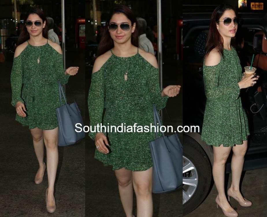 tamannaah bhatia green cold shoulder dress