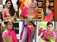 10 latest celebrity pattu saree blouse designs