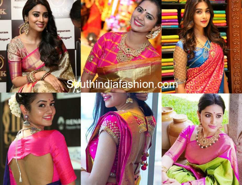 10 latest celebrity pattu saree blouse designs