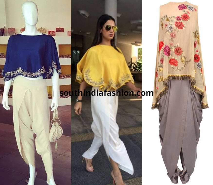dhoti pants with cape top