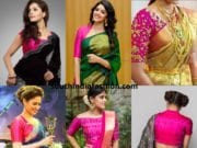pink blouse paired with different color sarees