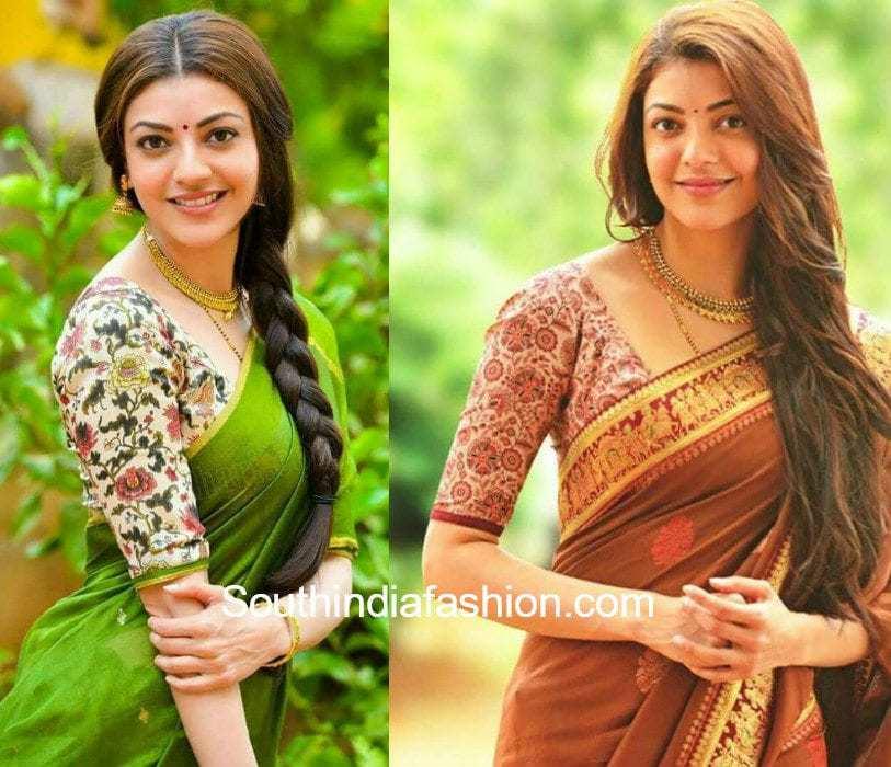 Kajal Aggarwal in kalamkari blouse