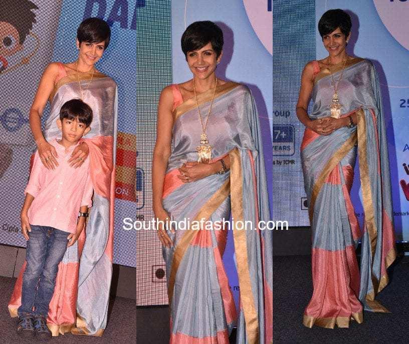 Mandira Bedi's saree look at a kids diet event