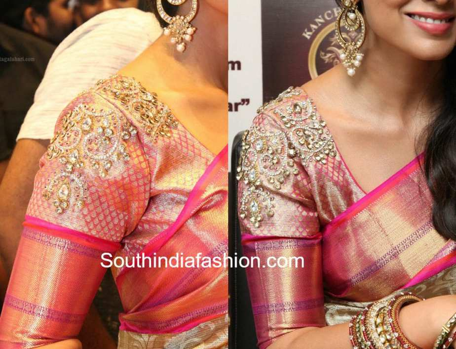 CELEBRITY PATTU SAREE BLOUSE DESIGNS