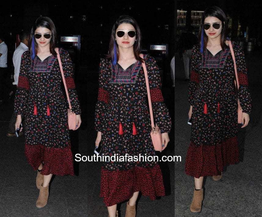 Prachi Desai in a midi dress by Cover Story at the airport