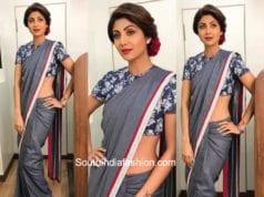 Shilpa Shetty in Mayyur Girotra denim saree for Super Dancer Season 2