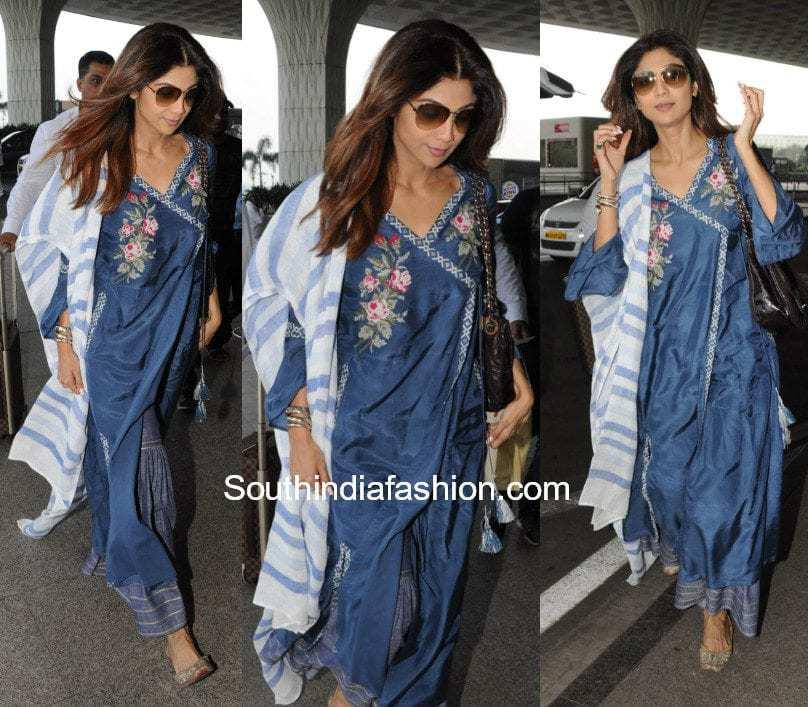 Shilpa Shetty in Shivangi Sahni at the airport