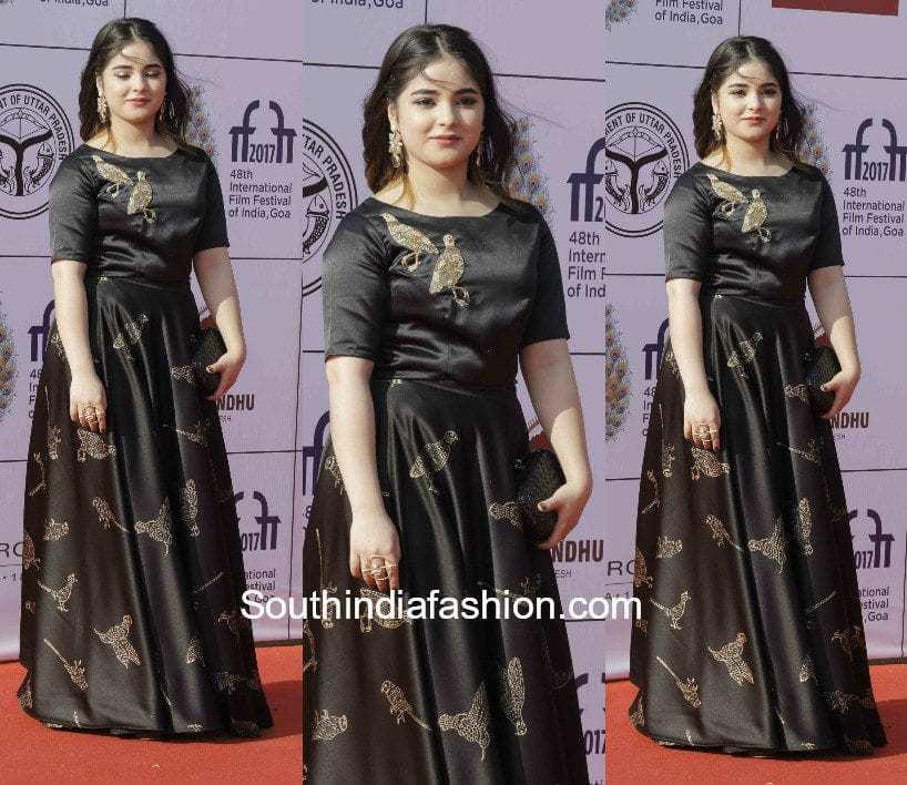 Zaira Wasim in a black gown at IFFI 2017 Closing ceremony in Goa