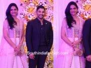allu arjun and sneha reddy at samantha and naga chaitanya wedding reception