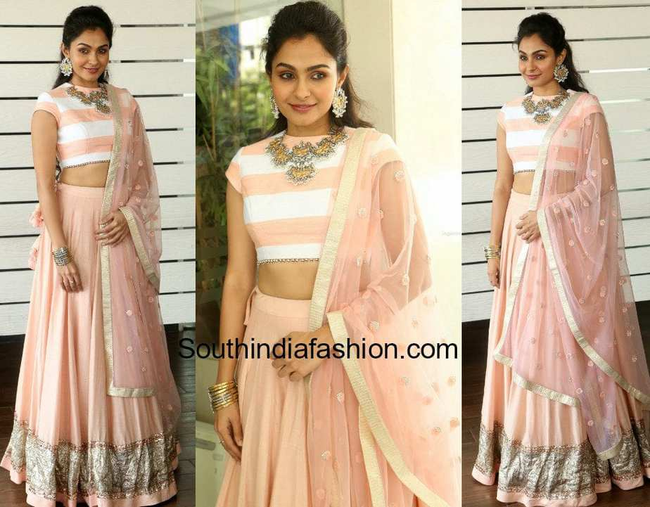andrea jeremiah in a lehenga at detective press meet