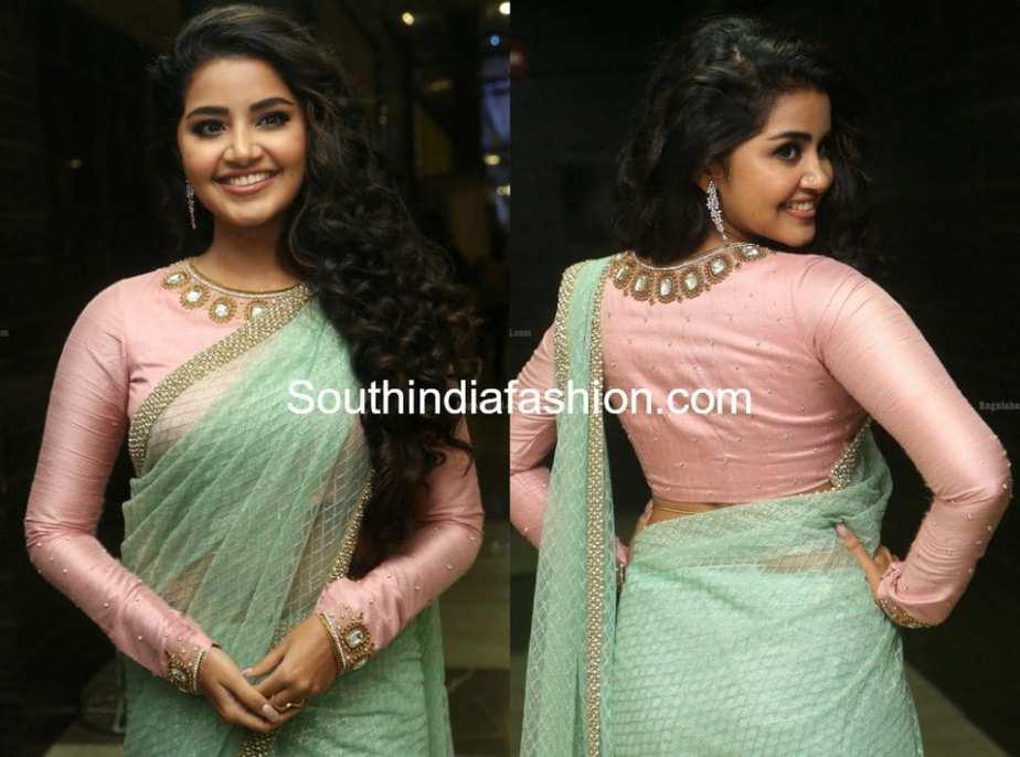 anupama parameswaran green saree pink full sleeves blouse
