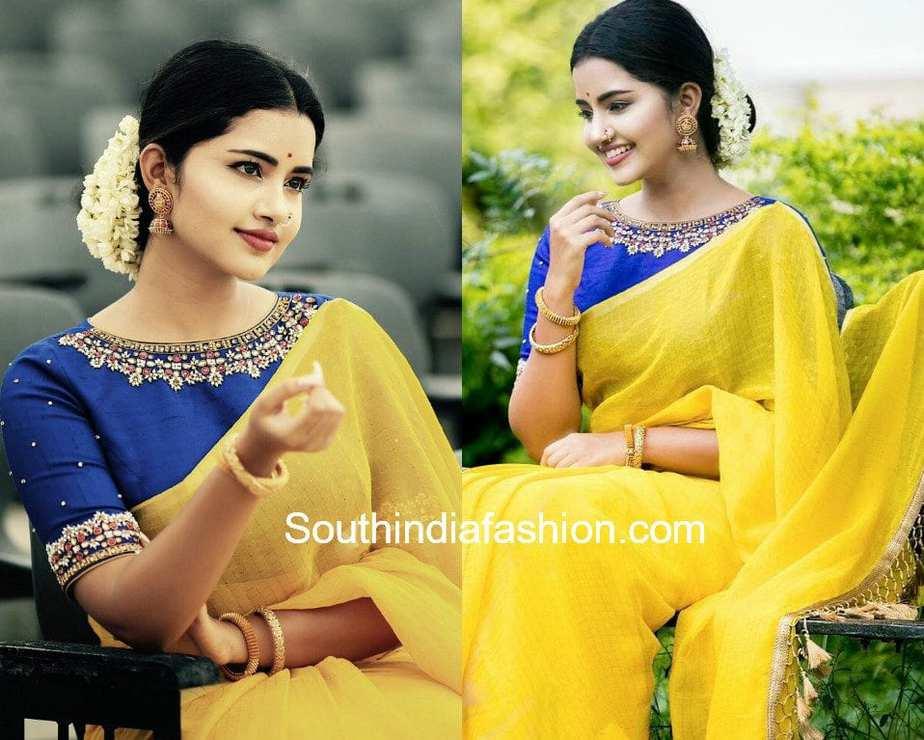 anupama parameswaran pearl work blouse