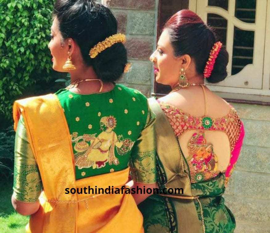 back embroidered blouses for simple sarees