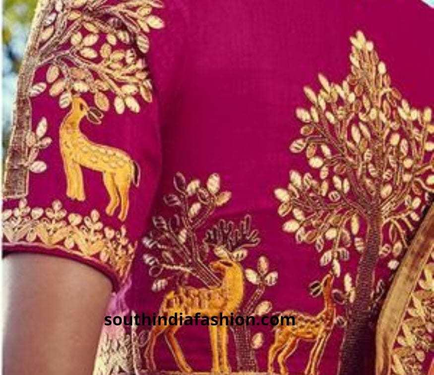 Deer back embroidered blouses