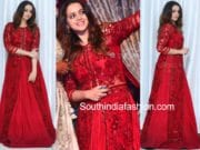 bhavana red jacket lehenga Monica Lal's Engagement Ceremony