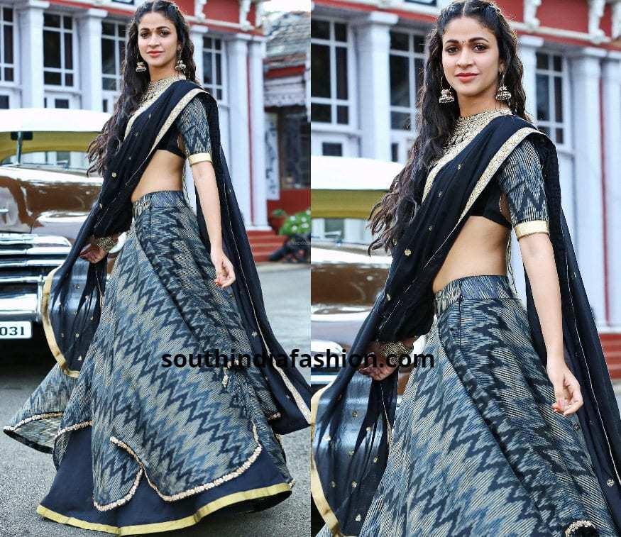black and grey half saree