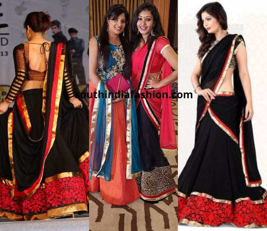 black and red half saree