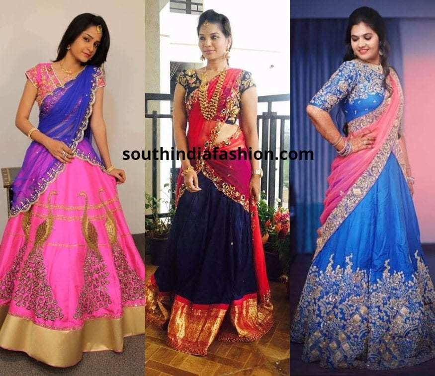blue and pink half sarees