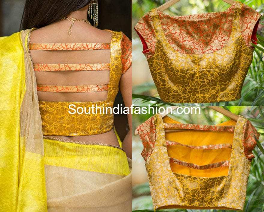 73e641c193 6 Beautiful Boat Neck Brocade Blouse Designs – South India Fashion