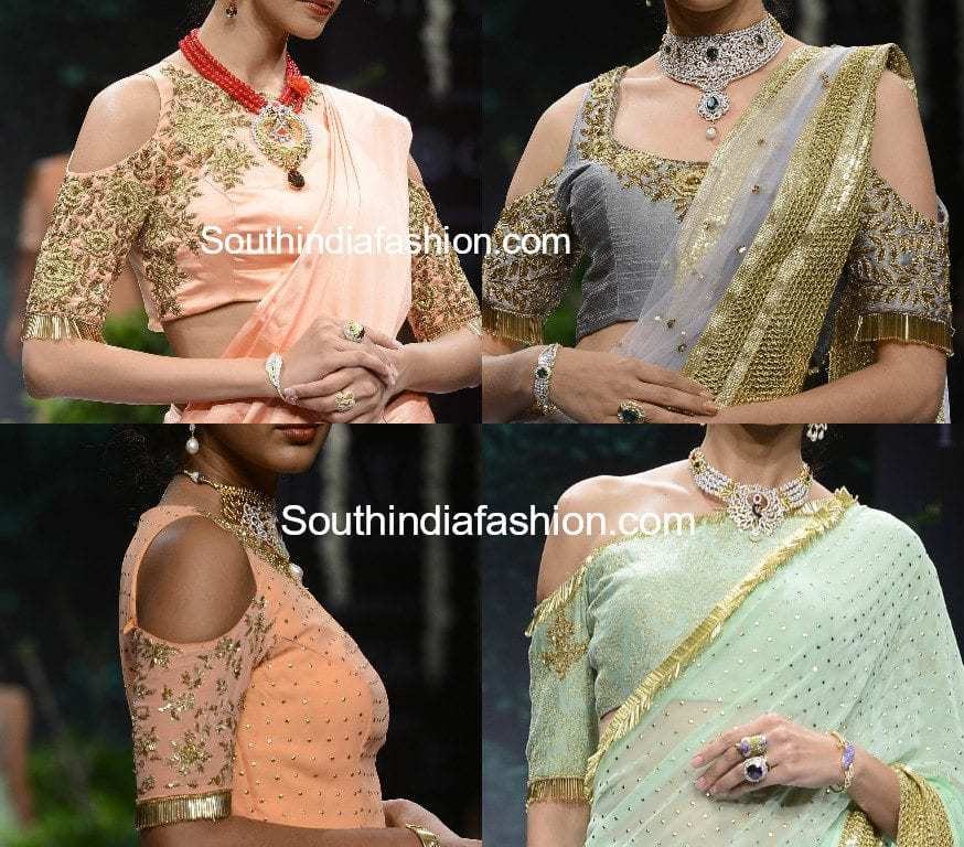 Embellished Cold Shoulder Saree Blouse Designs South