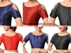 readymade cold shoulder saree blouse designs
