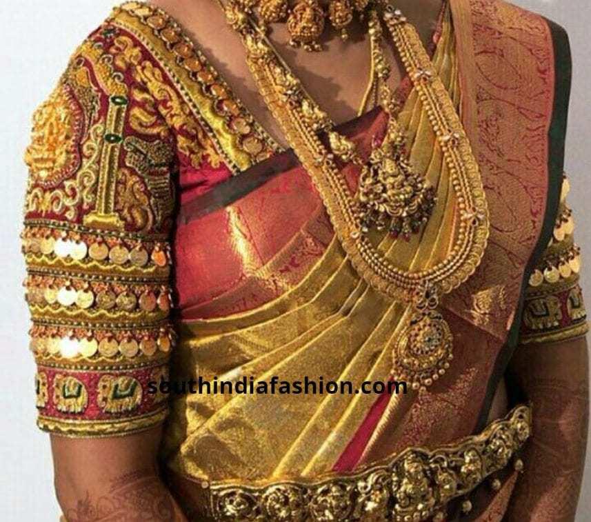 kaasu embellished bridal pattu saree blouses
